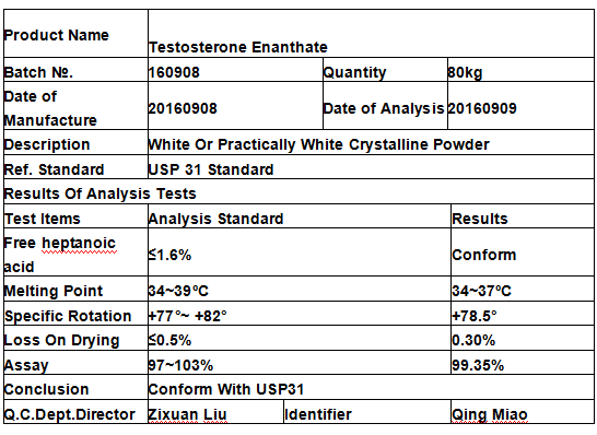 Testosterone Enanthate Steroid / Test Test Enanthate Powder Cas 315-37-7 For Bodybuilding